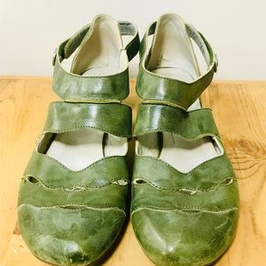 VINTAGE Green Leather Fidji Mary Jane Style Shoes
